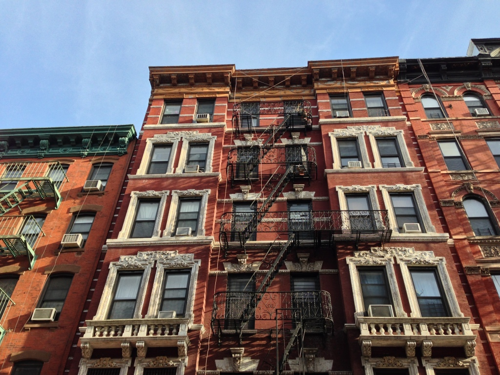 Buildings on Eldridge Street between Grand and Broome Streets. New York, NY. Thursday, December 6, 2012, 1:51 PM EST.