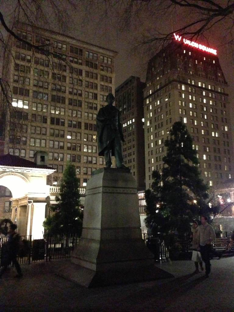 Union Square Park. New York, NY. Saturday, December 8, 2012, 7:18 PM EST.